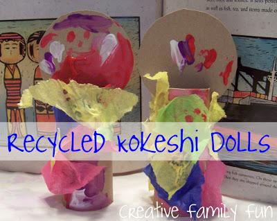 Recycled Kokeshi Dolls