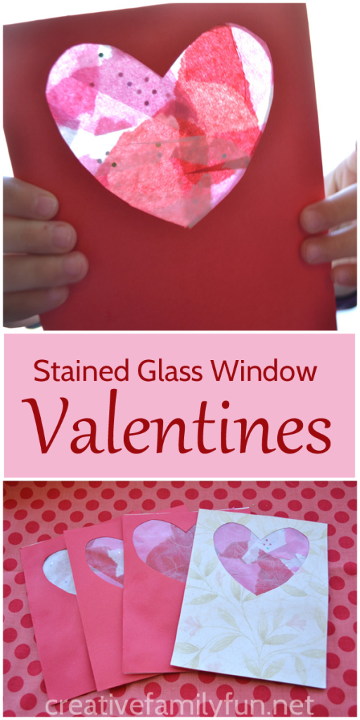 Use contact paper and tissue paper to make these pretty stained glass window Valentines. This is such an easy Valentines craft for kids.