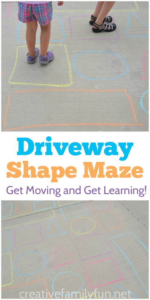 Move and learn at the same time with the fun outdoor shape activity, a driveway shape maze. It's fun for both preschoolers and toddlers.