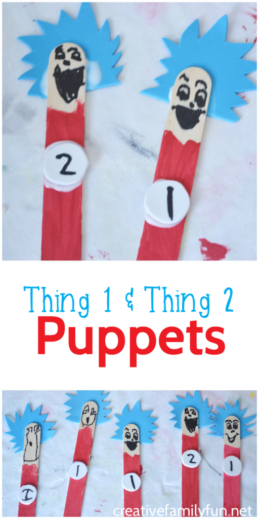 Make Thing 1 and Thing 2 Puppets inspired by Dr. Seuss's The Cat in the Hat