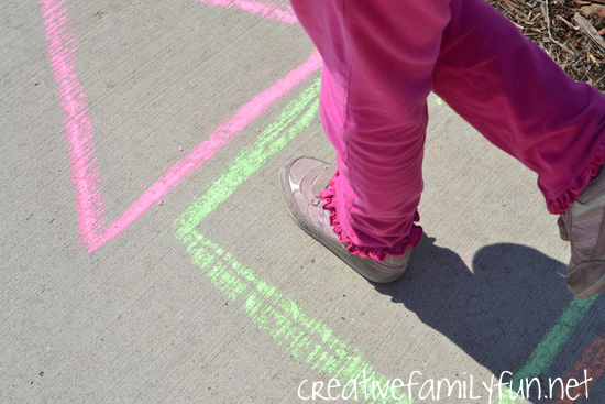 Get moving and learning with this fun outdoor shape activity, Shape Hopscotch. It's easy to set and so much for for preschoolers and toddlers.