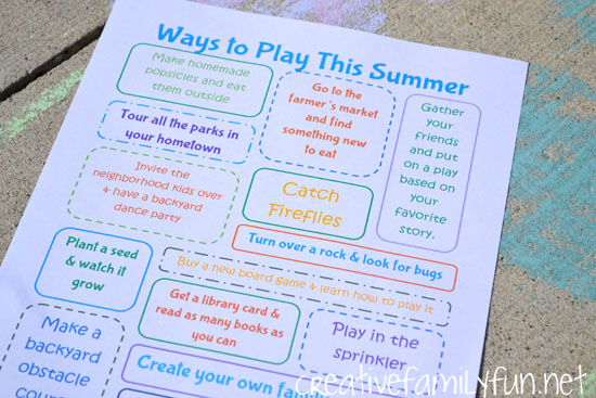 Printable Summer Bucket List Ideas 1