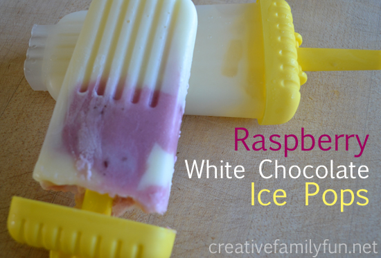 Raspberry White Chocolate Ice Pops