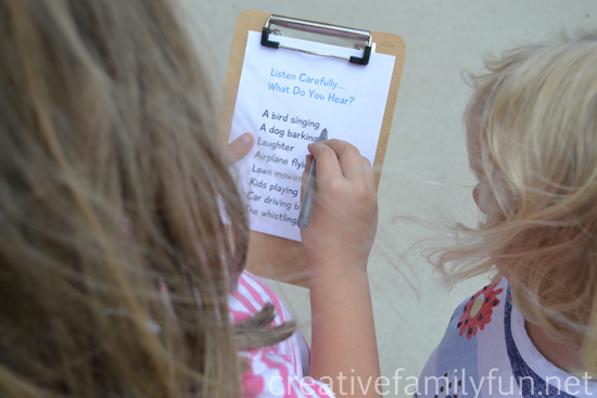 Use your ears to go on a fun listening scavenger hunt while you walk around your neighborhood with this fun walk idea for families.