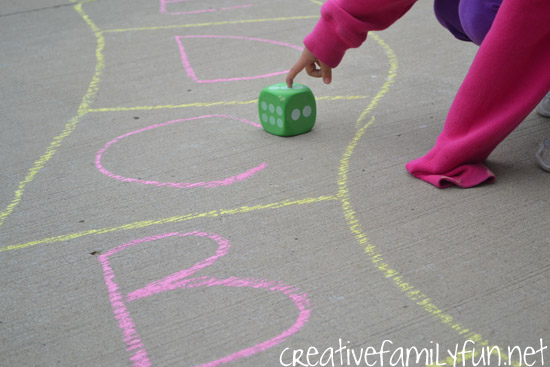 Grab your sidewalk chalk, go outside, and have some fun learning your ABCs with this fun outdoor alphabet game you can play on your driveway.