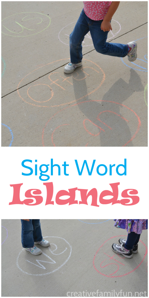 Practice sight words on the driveway by playing Sight Words Islands. It's a fun way to learn and move at the same time.