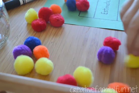 Challenge your kid's estimation skills with this fun estimation station math invitation. It's easy to set up and so much fun to play.