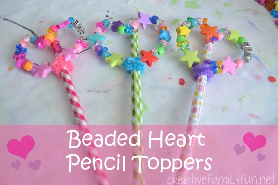Beaded Heart Pencil Toppers