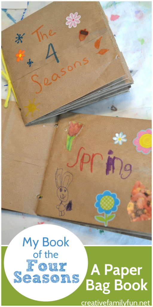 A paper bag book is a fun homemade book for kids to make. Put one together and then fill the pages and pockets with information about the four seasons.