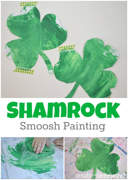 Shamrock Smoosh Painting: A Fun St. Patrick's Day craft for kids.