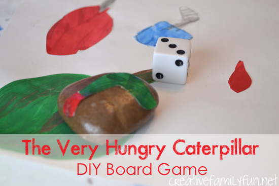 Create a simple DIY board game based on a classic children's book The Very Hungry Caterpillar by Eric Carle. It's a fun book activity your kids will love.