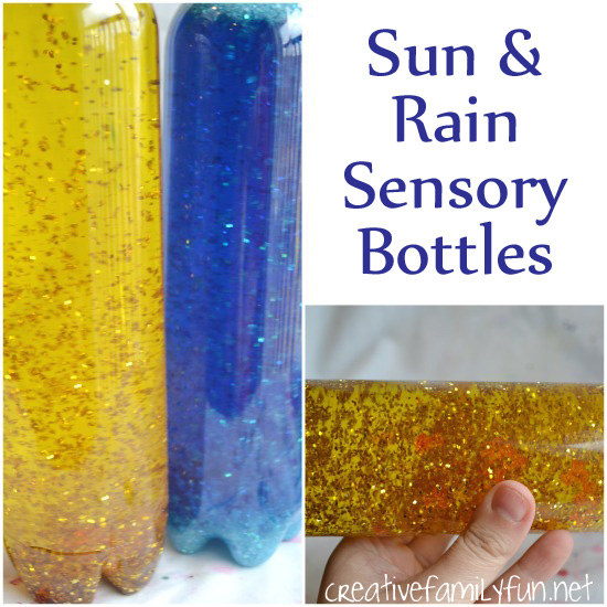 Making sensory bottles is always fun, especially when you're inspired by the weather. These sun and rain sensory bottles are simple and fun to make.
