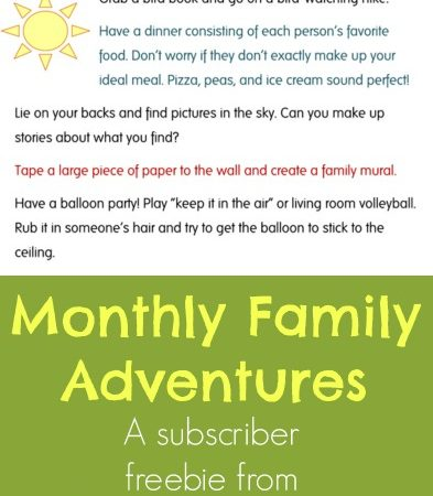 Family Adventures ~ A Subscriber Freebie