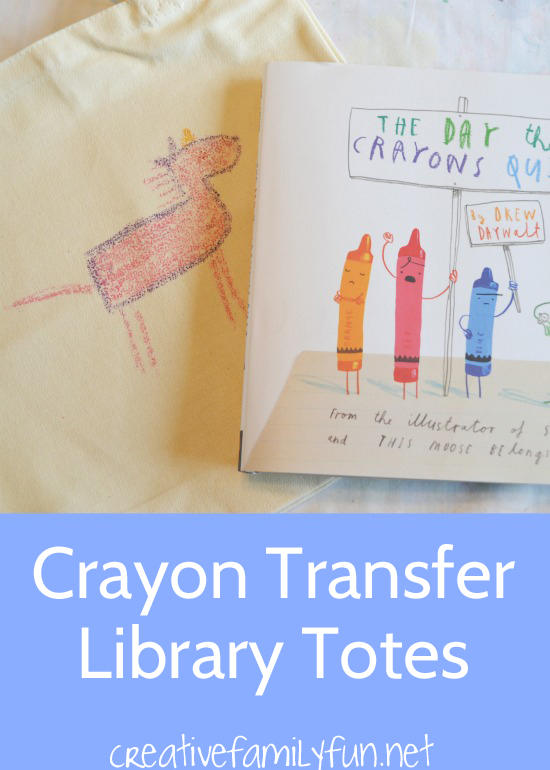 Draw on sandpaper and transfer your design to a fun bag when you make these Crayon Transfer Library Totes inspired by The Day The Crayons Quit.