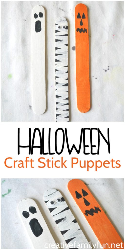 Make a ghost, a mummy, or a jack-o-lantern. These craft stick puppets are a fun Halloween craft for kids.