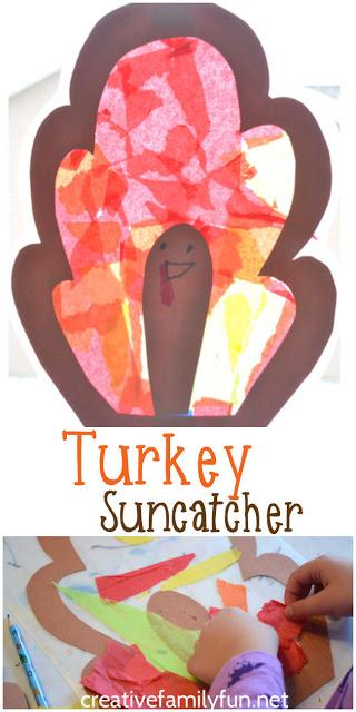Simple Turkey Suncatcher kids craft to brighten your windows this Thanksgiving.