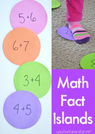 Learn and move with this fun math facts game, Math Facts Islands. This gross motor math fun is a fun way to practice and a great way to move after school.