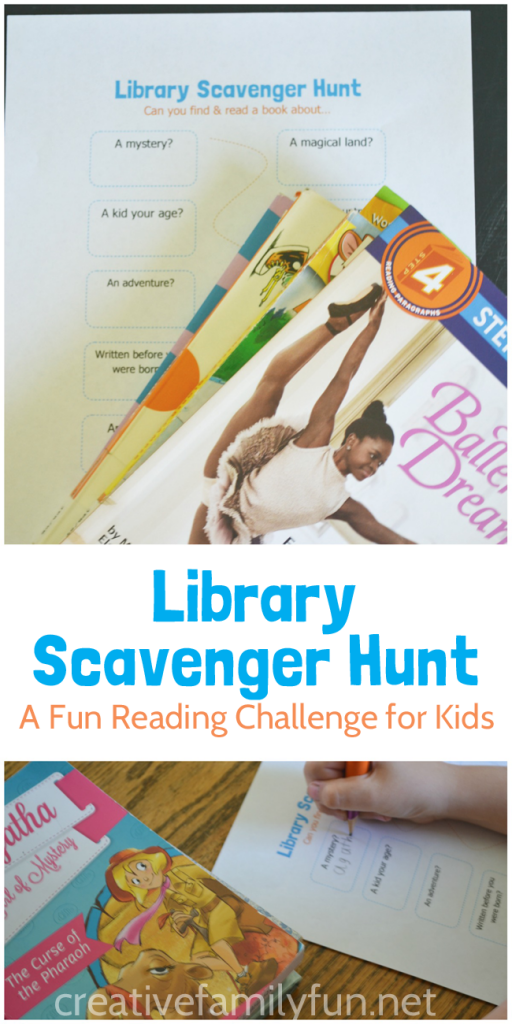 Explore the library with this fun summer reading challenge for kids. Can you find and read all the books on this Library Scavenger Hunt?