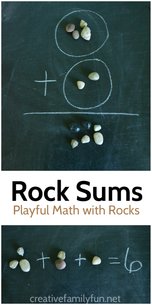Illustrate math problems with rocks - a simple way to help kids who are learning addition.