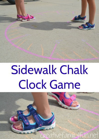 This outdoor clock game is a fun way to get outside, get moving, and practice telling time with a giant sidewalk chalk clock.