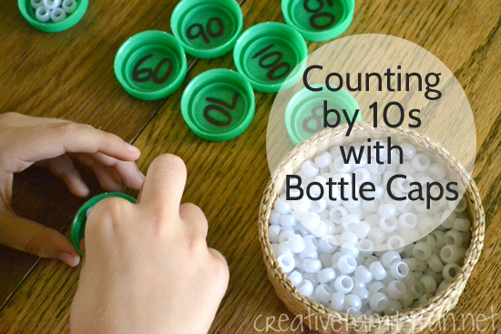 Skip Counting by 10s with Bottle Caps