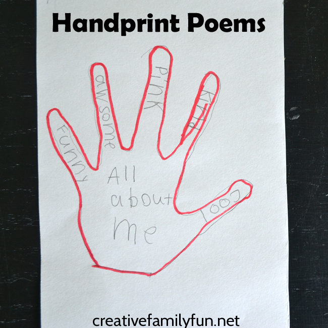 "Handprint poems are a fun and simple poetry writing project for kids. Trace your hands and write a poem that is ""All About Me""."