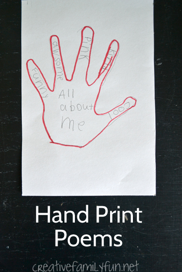 Write simple descriptive poems on your hand print. A fun creative writing activities for kids.
