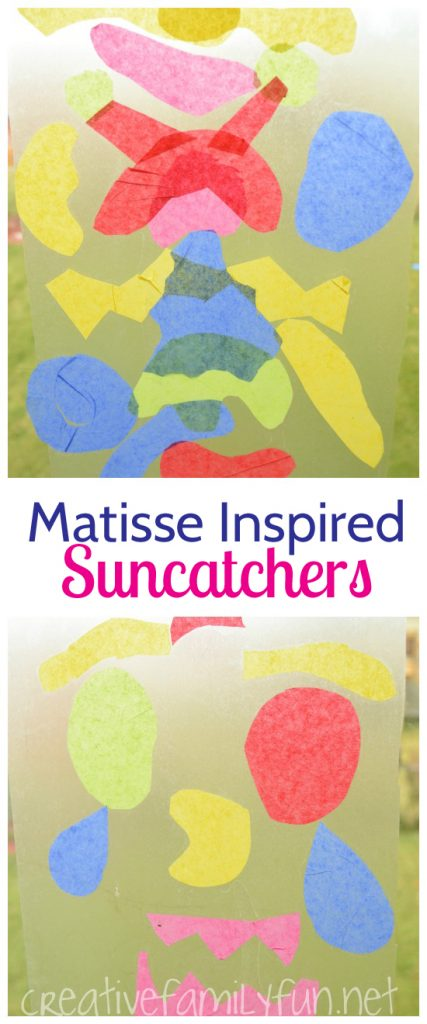 Use the cut paper technique to make beautiful suncatchers with this fun Matisse craft for kids. It will look beautiful on your windows!