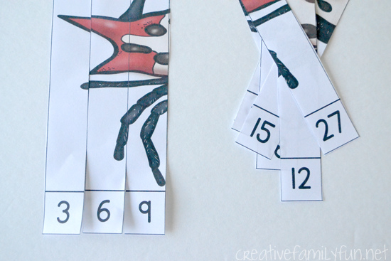 Practice skip counting with these fun free printable spider skip counting puzzles. Fun for Halloween and anytime of the year.