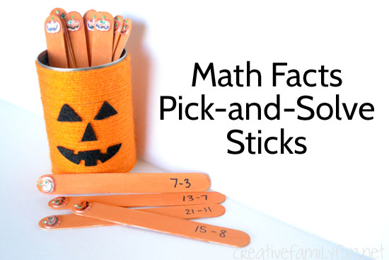 Pumpkin Math Facts Pick-and-Solve Sticks