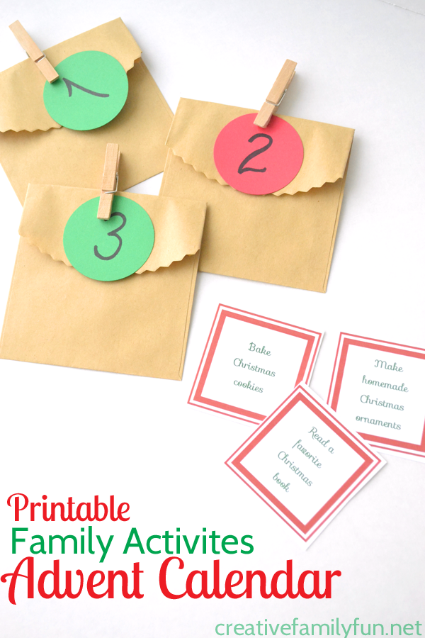 Printable advent cards with simple family activities for the Christmas season.