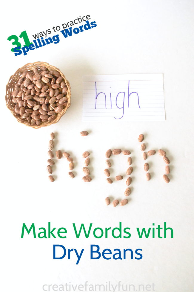 Make words with dry beans, a simple and fun way to practice spelling words.