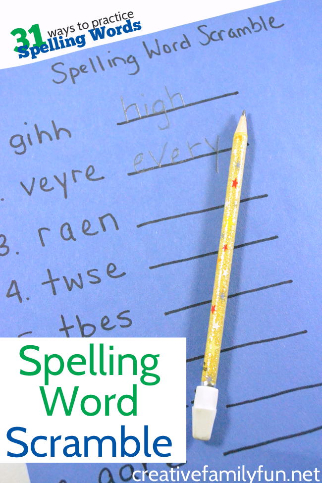 Turn your spelling list into a fun Spelling Word Scramble game. It's a fun way to practice spelling words and turns homework time into game time.