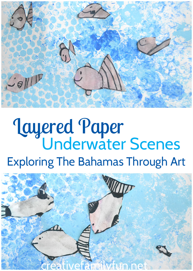 Use printmaking, wet on wet watercolor, and layered paper to create these underwater fish scenes in this art project for kids inspired by The Bahamas.