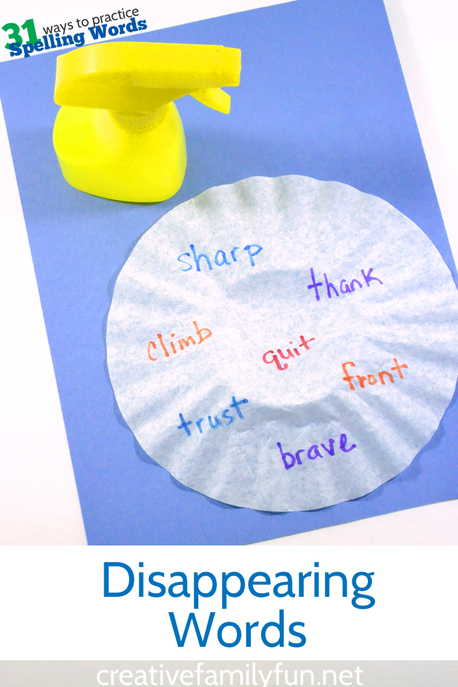 Practice spelling words by writing them on coffee filters, then making them disappear.