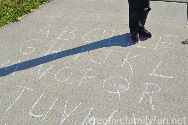 Spelling Outside with a Driveway Letter Grid