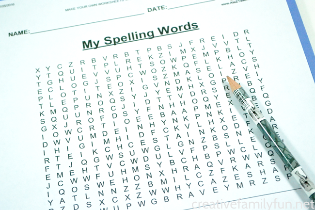 Create a Spelling Words Word Search