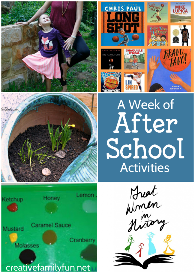 A week's worth of after school activities for your elementary aged kids.