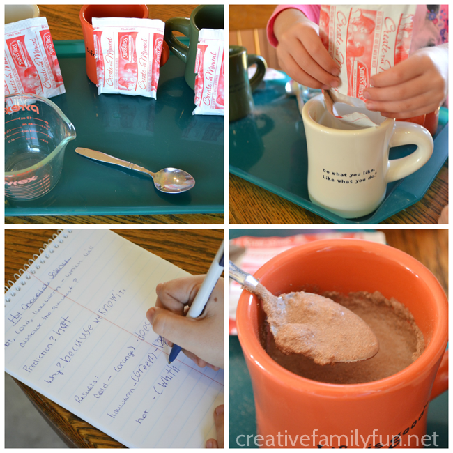 This hot chocolate science experiment is a fun way to learn about how temperature affects the rate at which hot chocolate dissolves. Kitchen science can be so much fun!