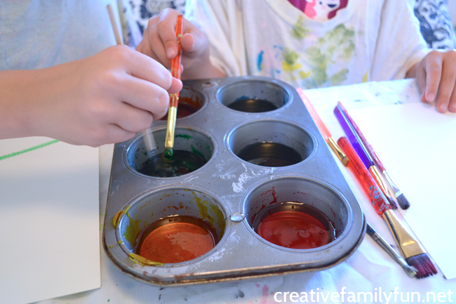 Mix up a batch of DIY sugar paint - made with corn syrup - to do this fun art project inspired by the country of Barbados.