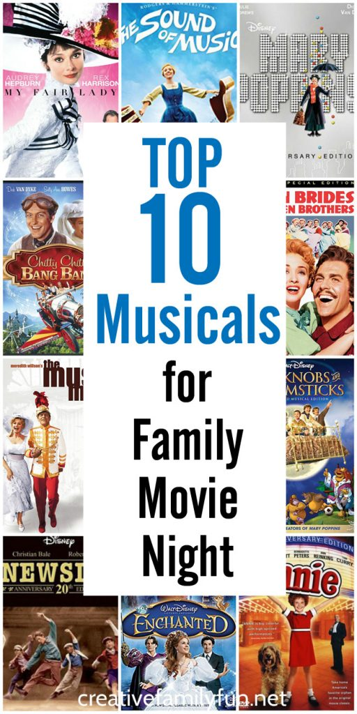 Pick up a musical for your next family movie night. These family-friendly choices are perfect for all ages of kids and their parents.