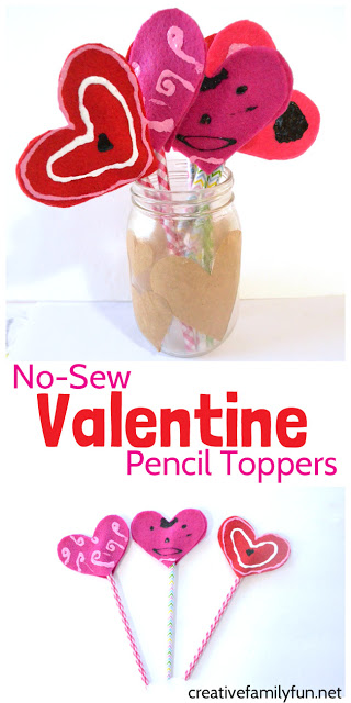 These no-sew Valentine pencil toppers are the perfect homemade gift to make for your friends. This craft is perfect for both kids and tweens.
