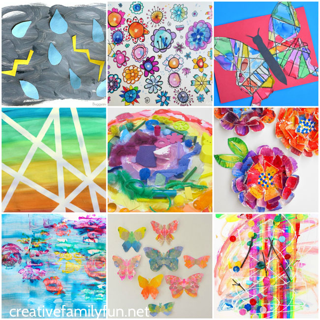 Your kids will love making one of these beautiful spring art projects and you'll love hanging them on your wall.
