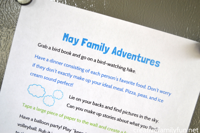 Spend some time with your family this spring with these simple family fun ideas for the month of May. Print out the idea list and have some fun!