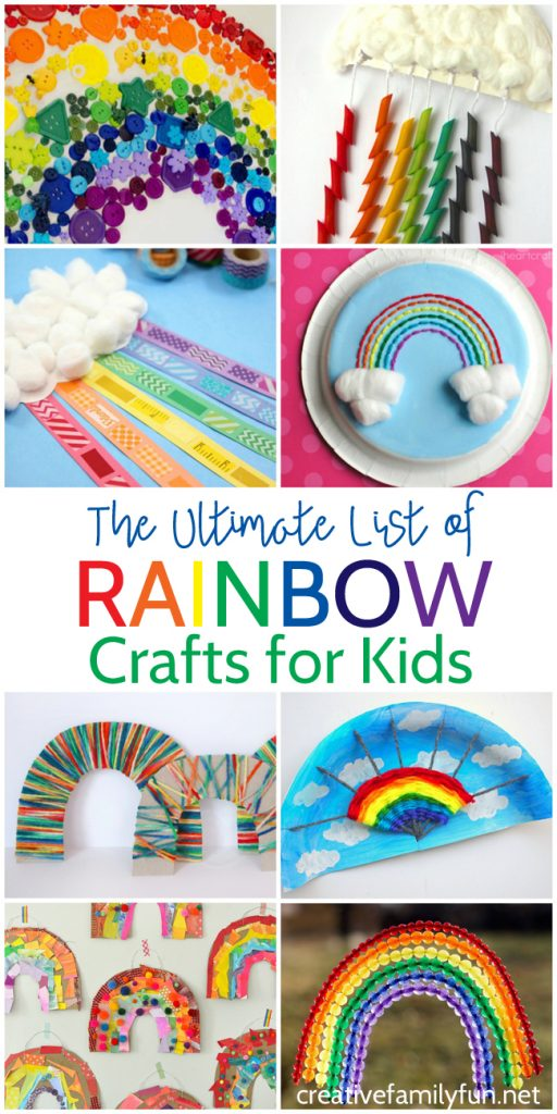 Rainbows! Find all the best crafts in this Ultimate List of Rainbow Crafts for Kids. The ideas are fun, colorful, and easy to make. You'll find so many ideas that you'll love to create.