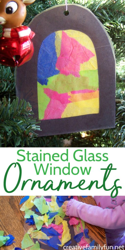 This Stained Glass Window Ornament is fun for toddlers and preschoolers to make. Plus, it makes a colorful addition to your Christmas tree. #Christmas #kidscrafts #CreativeFamilyFun
