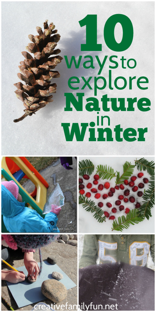 Even when the world is covered with snow, there are many fun ways to explore nature in winter with kids. Bundle up, go outside, and learn. #nature #ece #preschool #outdoorplay #CreativeFamilyFun