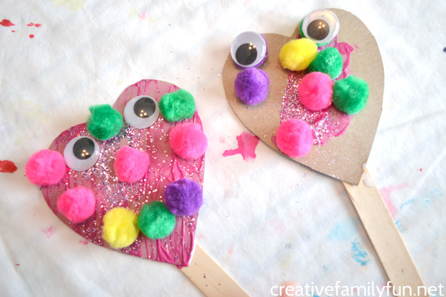 Silly Heart Puppet Valentine Craft