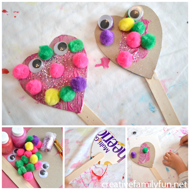 silly heart puppet valentine craft creative family fun