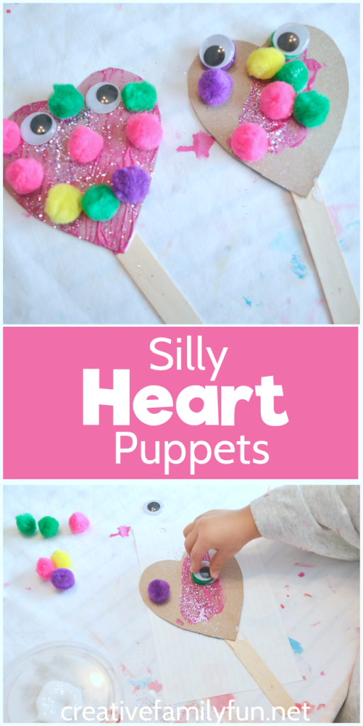 Use recycled materials to make this Silly Heart Puppet Valentines craft for kids. It's fun for toddlers, preschoolers, and big kids too. #ValentinesDay #Valentines #Toddler #preschool #KidsCrafts #CreativeFamilyFun